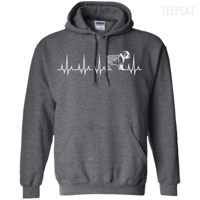 CustomCat Apparel Pullover Hoodie 8 oz / Dark Heather / Small Cardiogram Dog Tee