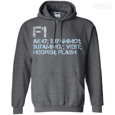 CustomCat Apparel Pullover Hoodie 8 oz / Dark Heather / Small Counter Strike Buy AK47 Blue Tee