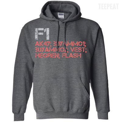 CustomCat Apparel Pullover Hoodie 8 oz / Dark Heather / Small Counter Strike Buy AK47 Red Tee