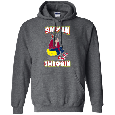 CustomCat Apparel Pullover Hoodie 8 oz / Dark Heather / Small DBZ - Saiyan Swaggin Tee