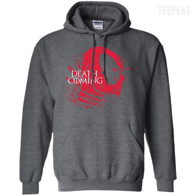 CustomCat Apparel Pullover Hoodie 8 oz / Dark Heather / Small Death is Coming Tee
