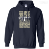 CustomCat Apparel Pullover Hoodie 8 oz / Navy / Small Bitch Here You Are Tee