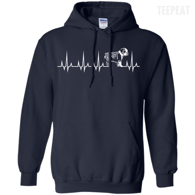 CustomCat Apparel Pullover Hoodie 8 oz / Navy / Small Cardiogram Dog Tee