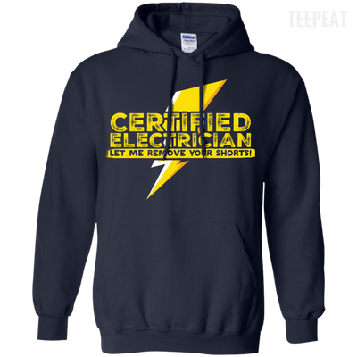 CustomCat Apparel Pullover Hoodie 8 oz / Navy / Small Certified Electrician Tee