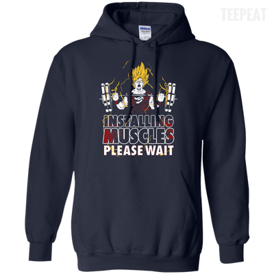 CustomCat Apparel Pullover Hoodie 8 oz / Navy / Small DBZ - Installing Muscles Tee