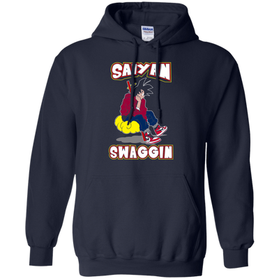 CustomCat Apparel Pullover Hoodie 8 oz / Navy / Small DBZ - Saiyan Swaggin Tee