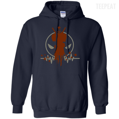 CustomCat Apparel Pullover Hoodie 8 oz / Navy / Small Deadpool Pulse Dark Tee