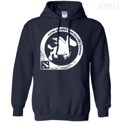 CustomCat Apparel Pullover Hoodie 8 oz / Navy / Small Dota 2 Flying Courier Tee