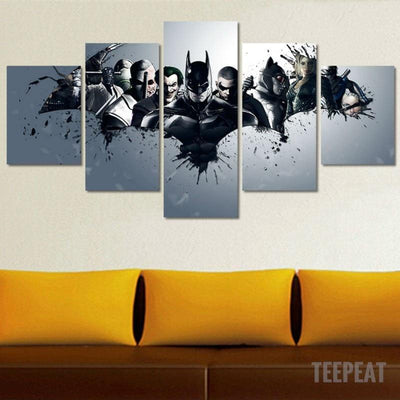 DF Canvas Batman And Villains - 5 Piece Canvas Painting  LIMITED EDITION