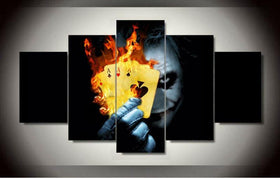 DF Canvas Large / Unframed Batman - Joker Cards - 5 Piece Canvas Painting LIMITED EDITION