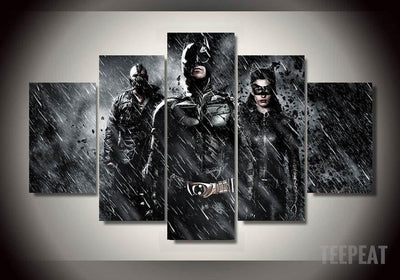 DF Canvas Large / Unframed Dark Knight - 5 Piece Canvas LIMITED EDITION