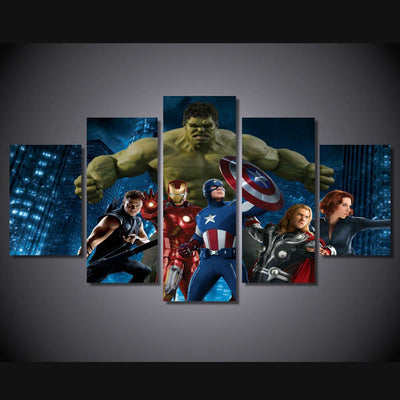 DF Canvas Medium / Unframed Avengers Painting - 5 Piece Canvas LIMITED EDITION