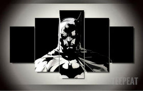 DF Canvas Medium / Unframed Batman - Black and White - 5 Piece Canvas Painting LIMITED EDITION