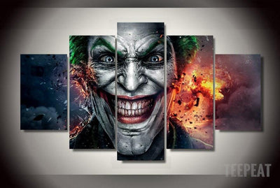 DF Canvas Medium / Unframed Destructive Joker - 5 Piece Canvas Painting
