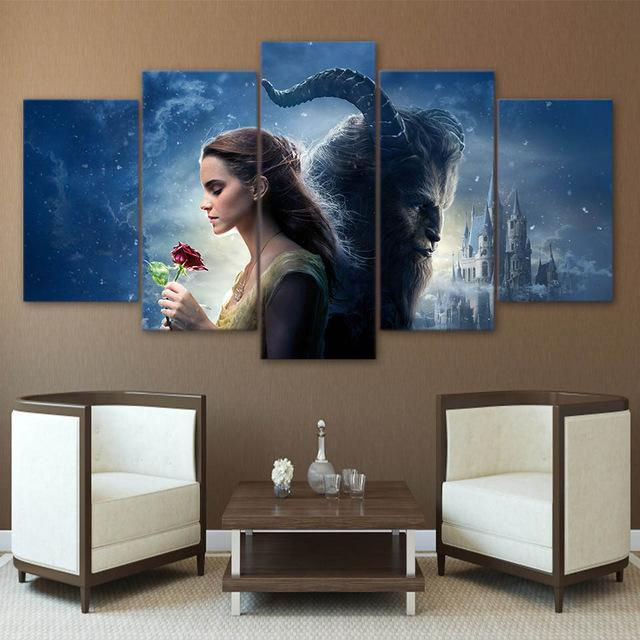 Beauty and the Beast -5 Piece Painting