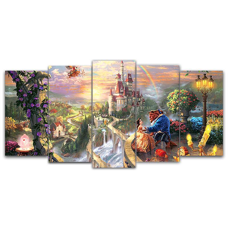 Beauty and the Beast Happy Ending - 5 Piece Painting