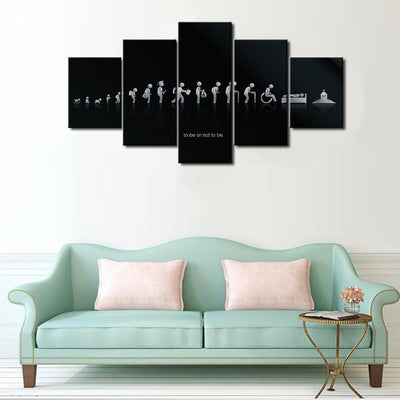 Empire Prints Canvas Black Shapes Stages- 5 Piece Painting