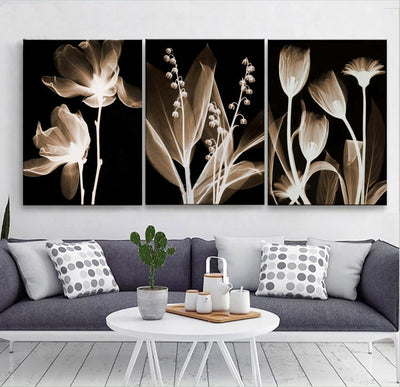 Empire Prints Canvas Classical Flower Art- 3 Piece Painting