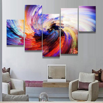 Empire Prints Canvas Colorful Abstract Illusion - 5 Piece Painting