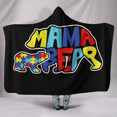 Autism Mama Bear Hooded Blanket