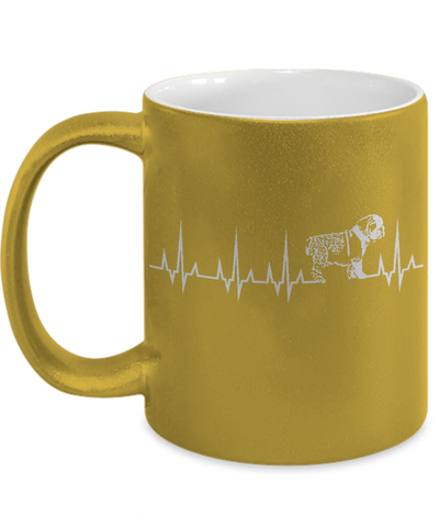 Gearbubble Coffee Mug 11oz Metallic Mug / Gold Cardiogram Dog Metallic Mug
