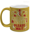 Gearbubble Coffee Mug 11oz Metallic Mug / Gold Deadpool Installing Muscles Metallic Mug