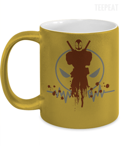Gearbubble Coffee Mug 11oz Metallic Mug / Gold Deadpool Pulse Metallic Mug