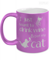 Gearbubble Coffee Mug 11oz Metallic Mug / Purple Drink Wine And Pet Cat Metallic Mug