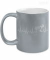 Gearbubble Coffee Mug 11oz Metallic Mug / Silver Cardiogram Dog Metallic Mug