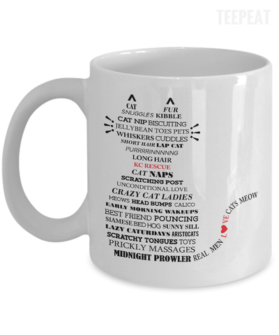 Gearbubble Coffee Mug 11oz Mug / White Cat Typography Mug