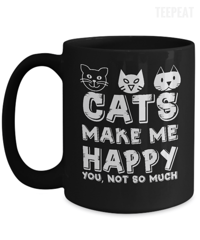 Gearbubble Coffee Mug 15oz Mug / Black Cats Make Me Happy Mug