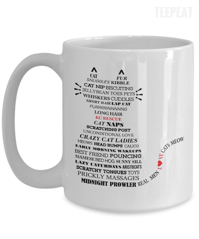 Gearbubble Coffee Mug 15oz Mug / White Cat Typography Mug