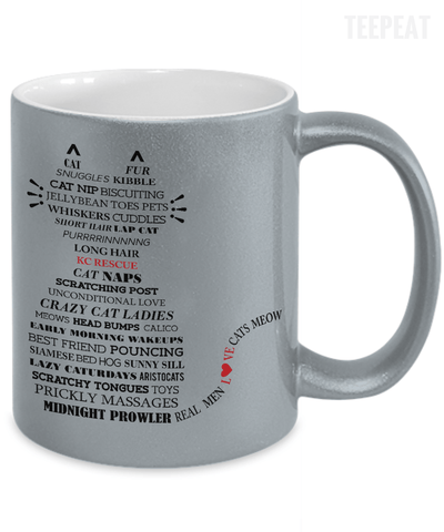 Gearbubble Coffee Mug Cat Typography Metallic Mug
