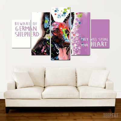 German Shepard Painting - 5 Piece Canvas-Canvas-TEEPEAT