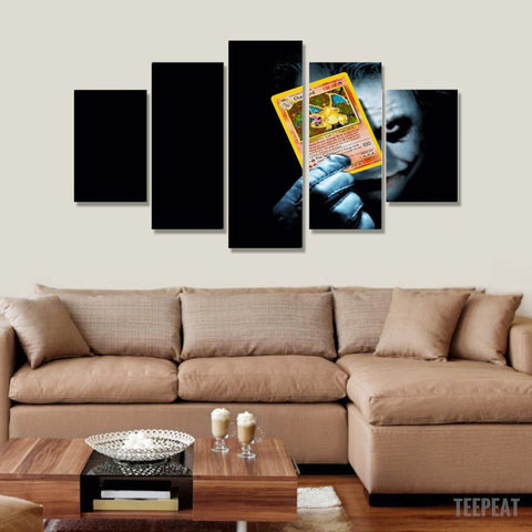 Joker Poke Card - 5 Piece Canvas-Canvas-TEEPEAT