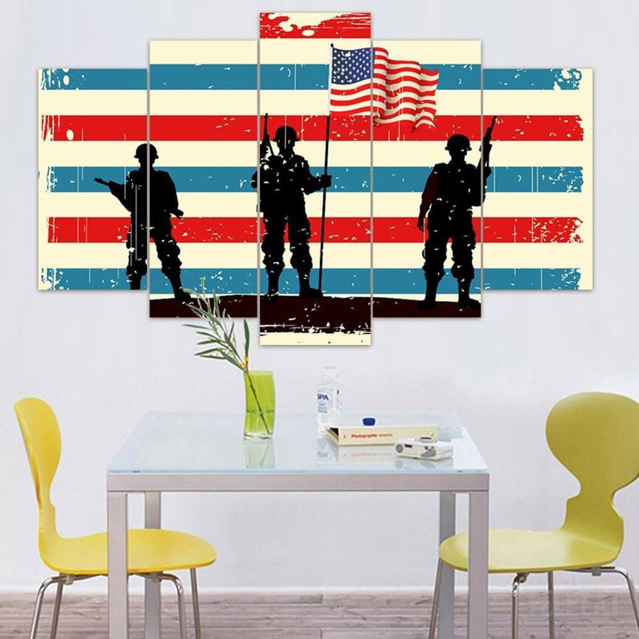 """Troops"" - 5 Piece Canvas Painting"
