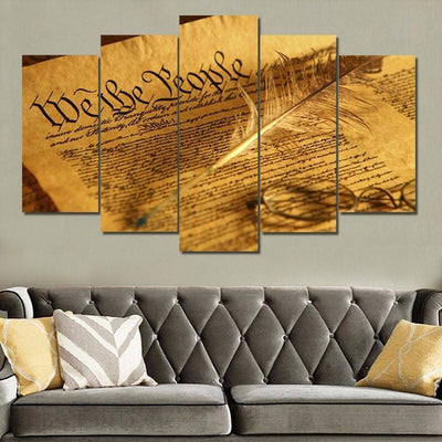"KINGSTONEART Canvas Unframed / Medium ""We The People"" - 5 Piece Canvas Painting"