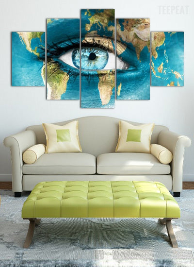 Map Of The Face Wall Art - 5 Piece Canvas