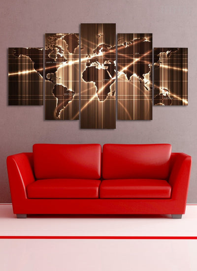 Map Wall Art - 5 Piece Canvas Painting