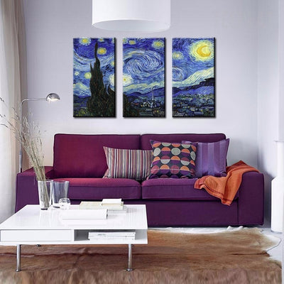 Van Gogh's The Starry Night Painting - 3 Piece Canvas Painting-Canvas-TEEPEAT