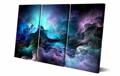 Beautiful Psychedelic Nebula Space - 3 Piece Painting