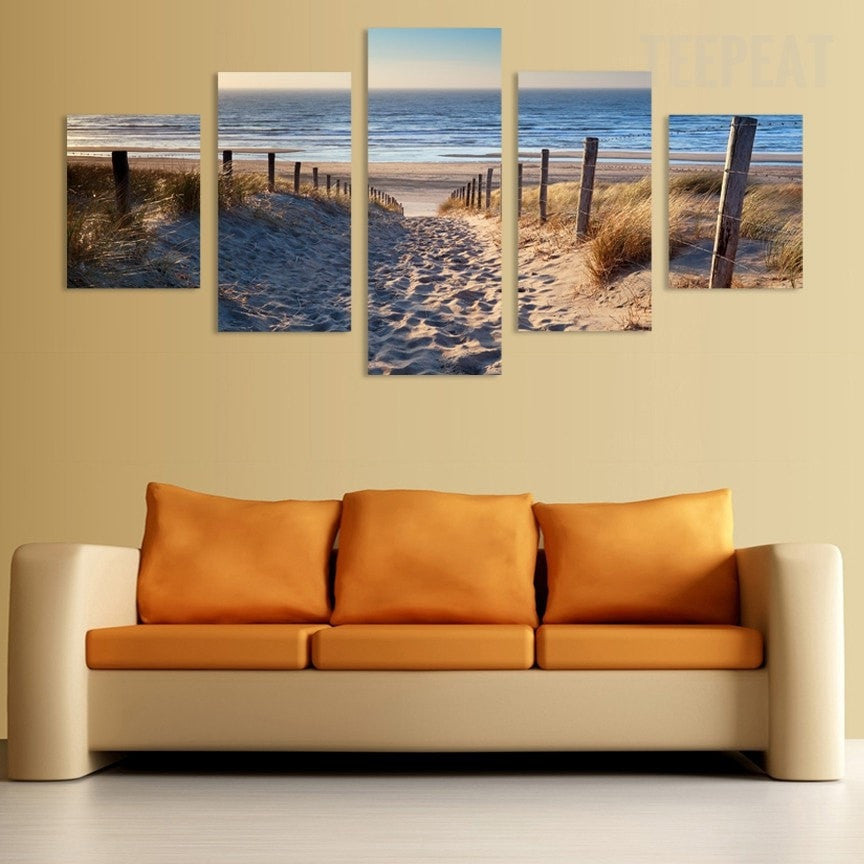 Footprints In The Sand Seaview Scenery - 5 Piece Canvas - Empire Prints