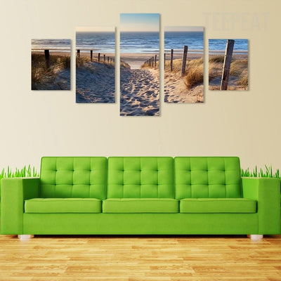 Footprints In The Sand Seaview Scenery - 5 Piece Canvas-Canvas-TEEPEAT