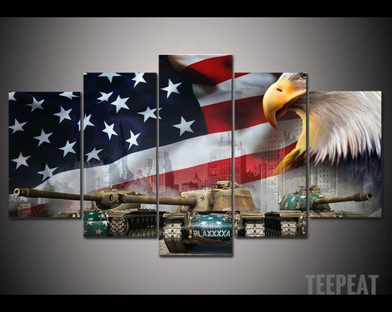Flag, Tanks, & The Eagle - 5 Piece Canvas Painting-Canvas-TEEPEAT