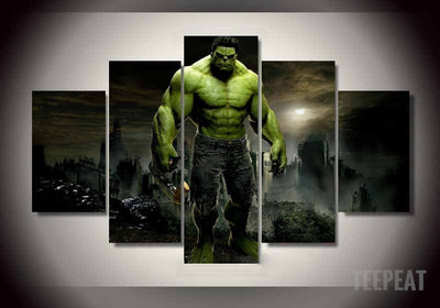 Limited Edition - Hulk Stands Alone - 5 Piece Canvas Painting-Canvas-TEEPEAT