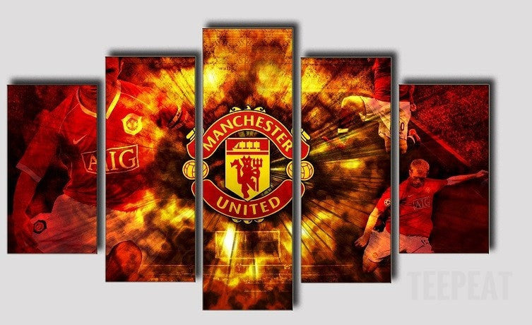 Manchester On Fire - 5 Piece Canvas Painting-Canvas-TEEPEAT