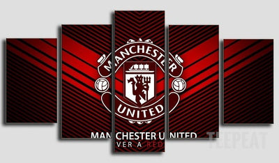 Manchester United Logo - 5 Piece Canvas Painting-Canvas-TEEPEAT