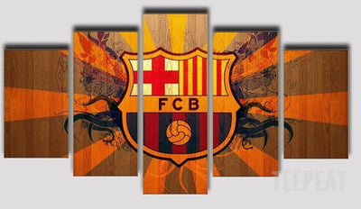 Limited Edition Barcelona Fan - 5 Piece Canvas Painting-Canvas-TEEPEAT