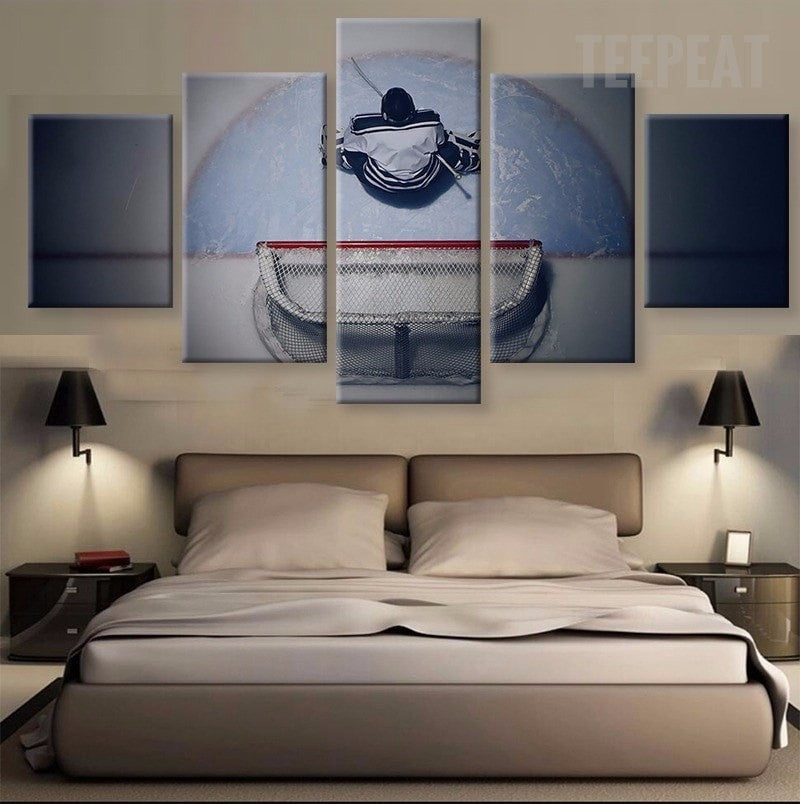 Ice Hockey Player Painting - 5 Piece Canvas-Canvas-TEEPEAT