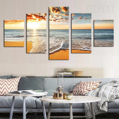 Sunset By The Sea Painting - 5 Piece Canvas